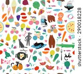 vector mix pattern with people  ... | Shutterstock .eps vector #290018228