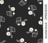 baby cart doodle seamless... | Shutterstock .eps vector #290028200