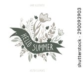 the lettering hello summer and ... | Shutterstock .eps vector #290093903