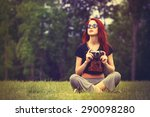 young girl in indie style... | Shutterstock . vector #290098280
