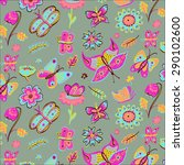 butterfly flower pattern | Shutterstock .eps vector #290102600