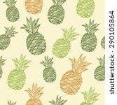 vector seamless pineapple... | Shutterstock .eps vector #290105864