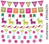 mexican party bunting flags set | Shutterstock .eps vector #290106254