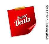 super deals red sticky notes... | Shutterstock .eps vector #290111129