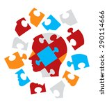 puzzle head symbolizing... | Shutterstock .eps vector #290114666