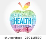 colorful health apple word... | Shutterstock .eps vector #290115830
