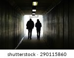 two persons walk to the light... | Shutterstock . vector #290115860