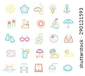 summer colourful line icons set | Shutterstock .eps vector #290121593
