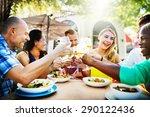 diverse people friends hanging...   Shutterstock . vector #290122436