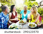 group friends chilling talking... | Shutterstock . vector #290123570