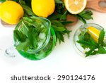 green mojito cocktail with ice  ... | Shutterstock . vector #290124176