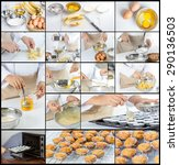 collage of chef making banana... | Shutterstock . vector #290136503