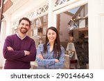 couple standing in front of a... | Shutterstock . vector #290146643