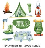camping set. vector watercolor... | Shutterstock .eps vector #290146838