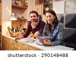 man and woman working behind... | Shutterstock . vector #290148488