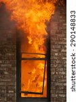 a house burns with flames...   Shutterstock . vector #290148833