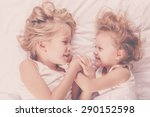 lovely brother and sister lying ... | Shutterstock . vector #290152598
