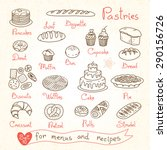 set drawings of pastries and... | Shutterstock .eps vector #290156726