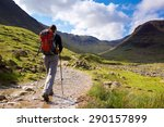 a walker approaches seathwaite... | Shutterstock . vector #290157899