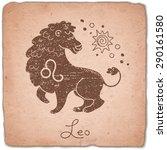 leo zodiac sign horoscope...   Shutterstock .eps vector #290161580