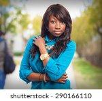 cool black woman standing | Shutterstock . vector #290166110