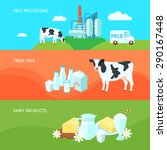 milk farm dairy products flat... | Shutterstock .eps vector #290167448