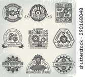 vintage logos with gears and...