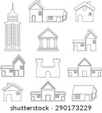 set of icons of houses   Shutterstock .eps vector #290173229