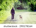 Stock photo a woman walking the dog on a silent road image has a vintage effect dog breed is lagotto 290178164