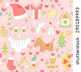 cute vector christmas seamless... | Shutterstock .eps vector #290189993