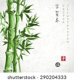 card with green bamboo in sumi... | Shutterstock .eps vector #290204333