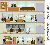 scenes of people working in the office. Interior office. Vector illustration in a flat style. open space office building with working people. | Shutterstock vector #290212364