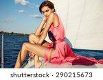beautiful young sexy brunette... | Shutterstock . vector #290215673