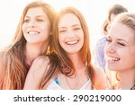 a group of friends  two men and ... | Shutterstock . vector #290219000