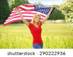 patriotic young woman with... | Shutterstock . vector #290222936
