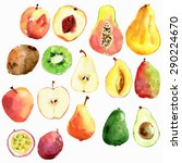 bright vector watercolor fruits ... | Shutterstock .eps vector #290224670
