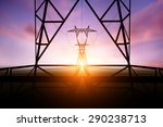 silhouette electricity post on... | Shutterstock . vector #290238713