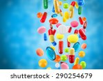 falling colorful medical pills... | Shutterstock . vector #290254679