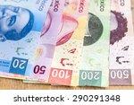 bills mexican pesos on a wooden ... | Shutterstock . vector #290291348