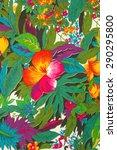 textile  flowers tropical ... | Shutterstock . vector #290295800