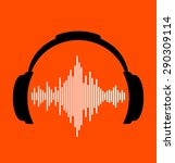 headphones icon with sound wave ... | Shutterstock .eps vector #290309114