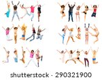 jumping together people... | Shutterstock . vector #290321900