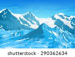 alps high mountains at winter...   Shutterstock .eps vector #290362634