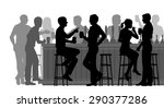 Stock vector eps editable vector cutout illustration of people drinking in a busy bar with all figures as 290377286