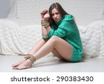 girl with his hands tied.... | Shutterstock . vector #290383430