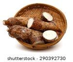 yucca cassava root in basket... | Shutterstock . vector #290392730