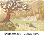 Landscape With Mountain River...