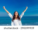 happy woman smiling at the... | Shutterstock . vector #290399939