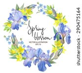 floral wreath with iris flowers ... | Shutterstock .eps vector #290475164