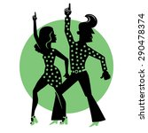 silhouette of a dancing couple... | Shutterstock .eps vector #290478374